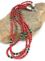 """Native American Navajo Sterling Silver Coral Turquoise 19"""" 3S Necklace 4856"""