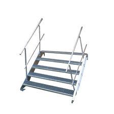Stahltreppe 5 Stufen-Breite 100cm Variable-Höhe 70-105cm beidseit. Geländer