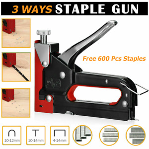 Heavy Duty Staple Gun 3 In 1 Stapler Tacker With 600 Staples Upholstery Metal