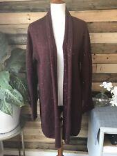 J. Jill Wine Burgundy Sequin Long Open Duster Cardigan Sweater Women's XL Mohair