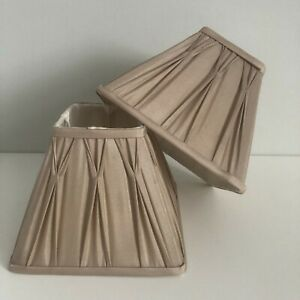 Laura Ashley Fenn Lampshades Pleated Taupe/Beige Square x2