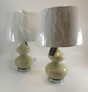Safavieh Lighting 24-inch Eva Double Gourd Glass Taupe Table Lamp - Set of 2