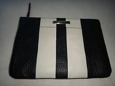 393c732089 COLE HAAN Womens Large Pouch Clutch Wallet Cosmetic Bag Black White Real  Leather