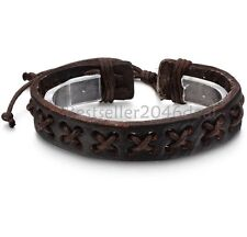 Mens Womens Brown Braided Leather Rope Adjustable Wrap Cuff Bracelet Wristband