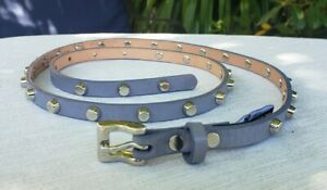 NWOT Brave Leather Women's Thin Grey Leather Belt Silver Studs & Buckle Sz.32/Lg