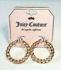 Juicy Couture Gold Tone Crystal Rhinestone Hoop Earrings NWT on Card