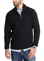 NWT MEN'S WEATHERPROOF QUARTER ZIP CABLE KNIT SWEATER , 100% COTTON, VARIETY