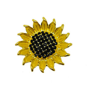 3D Crystal Sunflower Chunk Charm Snap Button Fit 18mm Snap Jewelry DIY
