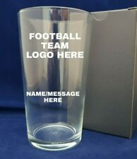 Personalised Engraved Straight Pint Glass With Your Football Team Logo & Name