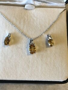 New Citrine (Nov. Birthstone) and Diamond  Necklace & Earring Set 10K White Gold