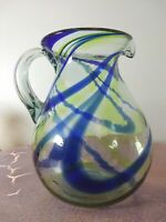 """MEXICAN HANDBLOWN ART GLASS COBALT BLUE & GREEN SWIRL PITCHER  9"""" TALL EXCELLENT"""