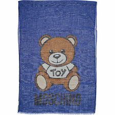LOVE MOSCHINO Blue Wool & Silk Blend Teddy Scarf. RRP. £145