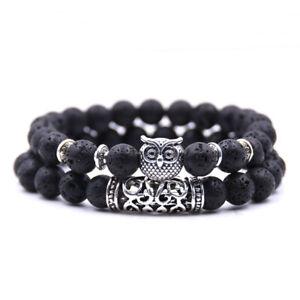 Men Fashion Natural Lava Stone Owl Beaded Cuff Charm Bangle Bracelets 2Pcs/Set