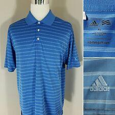 ADIDAS GOLF Men's XL Polo Shirt Climalite Blue Striped S/S EUC