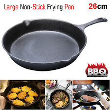 Large Non Stick Frying Pan Pre Seasoned Cast Iron BBQ Grill Skillet Frypan 26cm