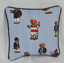 Pillow made with Ralph Lauren Polo Teddy Bear Blue Pin Stripe Fabric 12 cording