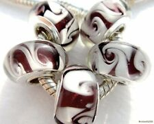 5PCS Silver Single Core Murano Lamp Glass Beads fit European Charm Bracelet A054