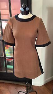 Vintage Alison Ayres Size 12 Mini Dress Mod Go Go Brown And Black Retro Glam