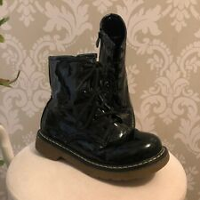 Girls Black Patent Boots 12