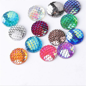 100pc 12mm Mermaid Fish Scale FlatBack Resin Cabochons Earring Patch Accessories