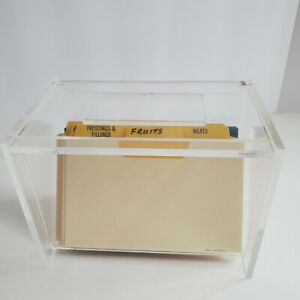 Acrylic Recipe Box Holder Case Filing Cards & Blank Recipe Cards Crystal Clear