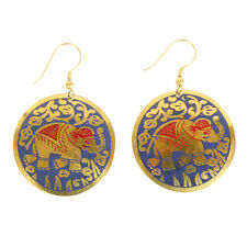 Purple, Red & Gold Elephant Circle Earrings
