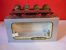 IBERTREN wagon plateau à ranchers avec rouleaux en boite éch HO réf 2307