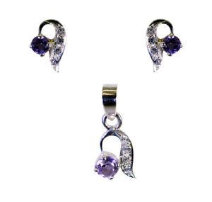 Fair Amethyst 925 Sterling Silver Purple Pendant Set Natural Designer US Gift
