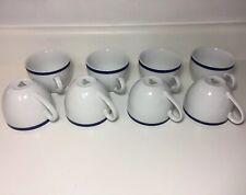 """Williams Sonoma Brasserie Blue Coffee Tea Mugs 3"""" Japan Set of 8"""