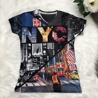 NYC True Rock Graphic Print Tee Sz Small Times Square Short Sleeve V neck Top