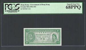 Hong Kong 5 Cents ND(1961-65) P326 Uncirculated Grade 68
