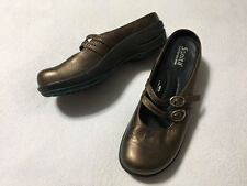 Sanita Womens 38 7.5 Bronze Double Buckle Mary Jane Clog Shoes Liquicell