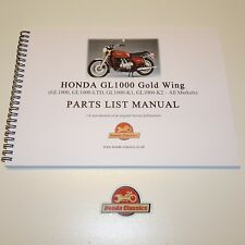 Honda GL1000 Gold Wing 1970s Parts List Book, Reproduction. HPL020
