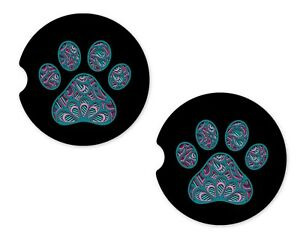 Dog Paw Rubber Car Coasters For Drinks Absorbent Car Cup Holder   SET OF 2