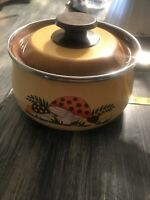 Vtg MERRY MUSHROOM Cookware Sears Enamel Ware Pot Sauce Pan Brown Lid 2 Pcs E27