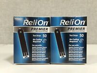Lot Of 2 - 50 ReliOn Premier Blood Glucose Test Strips Per Box