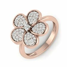 Round Brilliant Cut Natural Diamond Flower Statement Ring 14Carat Rose Gold