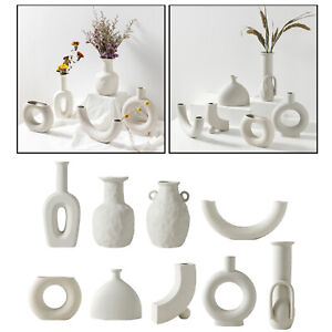 Nordic Style Ceramic Vase White Decorative Flower Vase Art for Home Decorations