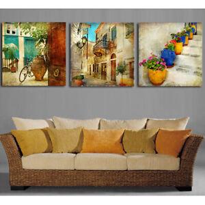 Retro City Calm Street Scene 3 pcs HD Art Poster Wall Home Decor Canvas Print