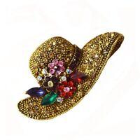 Vintage Women Rhinestone Brooch Flower Hat Brooches Fashion Pin Jewelry Crystal