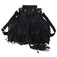 New Womens Tassel Drawstring Chain Bucket Bag Ladies Shoulder-Tassel-Bag-Handbag