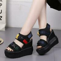 Chic Womens Strap Buckle Sport Sandals Platform Wedge Sneakers High Heel Shoes