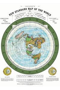 1892 Flat Earth Map - Alexander Gleason New Standard World Map Globe Model Print