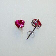 Red Ruby Quartz Heart Stud Earrings 7mm 14k White Gold over 925 SS