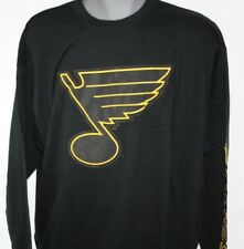 NEW Mens Majestic St Louis Blues NHL Black Pop Long Sleeve Hockey B&T Tee Shirt