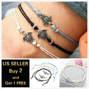 Braid Rope Turtle Blue Black White Anklet Ankle Bracelet Foot Chain