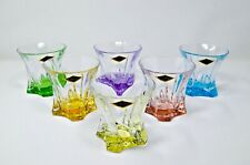 Whiskey Tumbler set of 6 Crystal Glass Vodka Water 10oz Multicolor Bohemia Czech