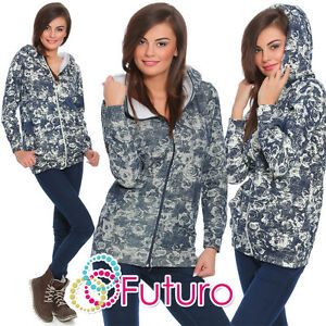 Womens Warm Hoodie Floral Print Sweatshirt Tracksuit Top Blouse Sizes 8-14 FZ57