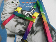 Rainbow Cat Kitten Adjustable Harness and Lead Set