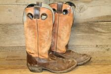 DOUBLE-H MENS BROWN/ORANGE LEATHER BUCKAROO TALL COWBOY/WESTERN BOOTS SZ 8 D